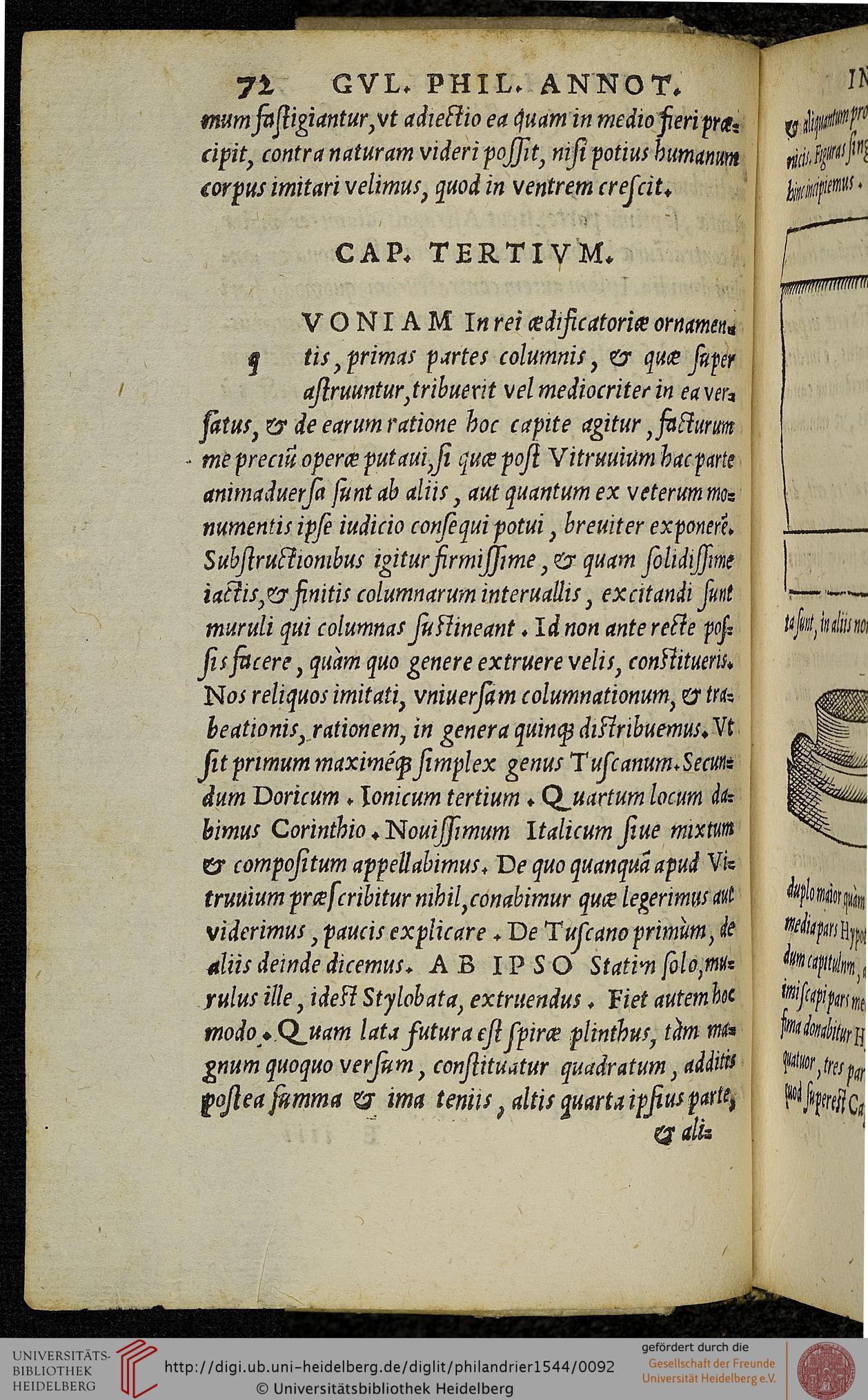 """Fig. 1. G. Philandrier, Digression on the five orders (In decem libros M. Vitruvii Pollionis de architectura annotationes…, Rome, 1544, p. 72)"""