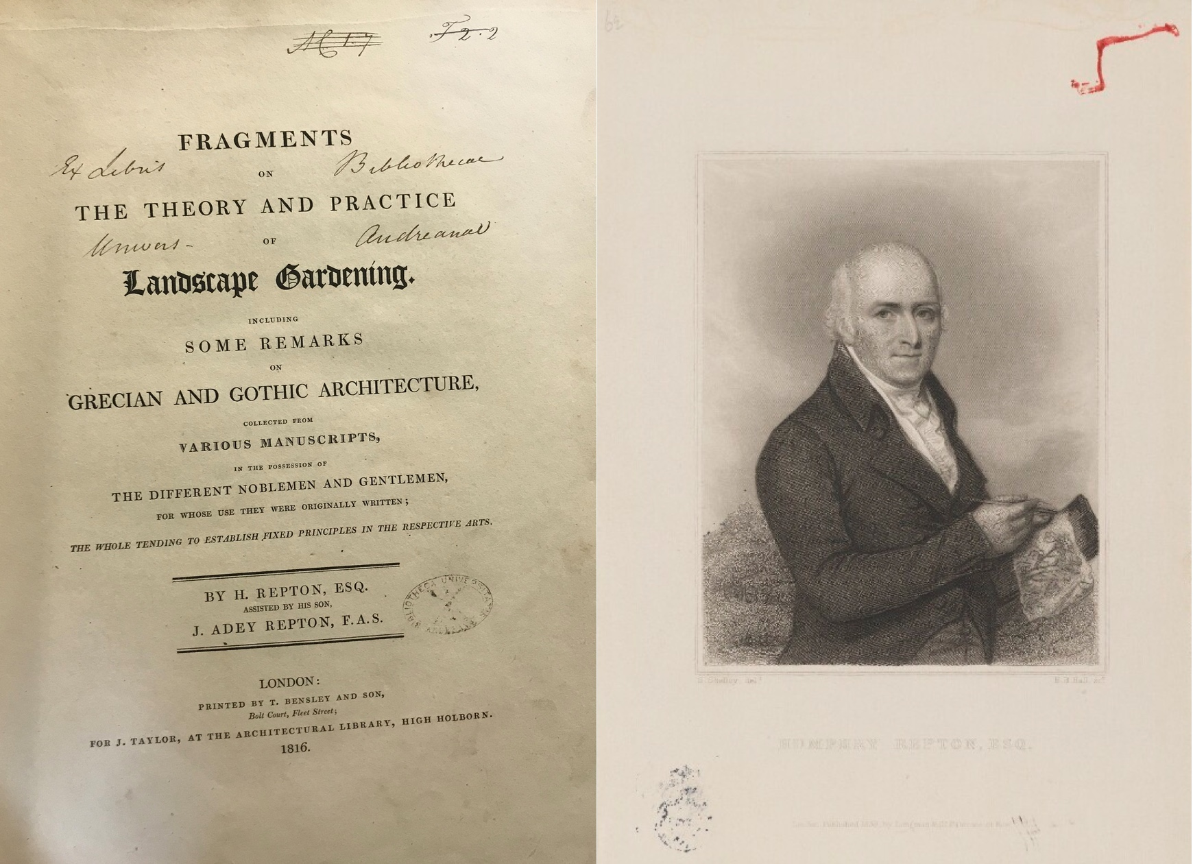 """Humphry Repton's Fragments on the Theory and Practice of Landscape Gardening"""
