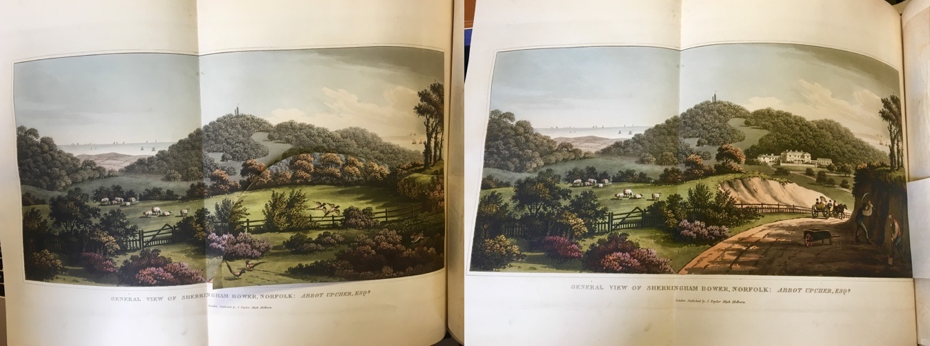 """General View of the Sherringham Bower, Norfolk on page 194 of Humphry Repton's Fragments on the Theory and Practice of Landscape Gardening published 1816. """