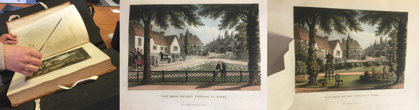 """View from my own cottage, in Essex on page 233 of Humphry Repton's Fragments on the Theory and Practice of Landscape Gardening published 1816."""