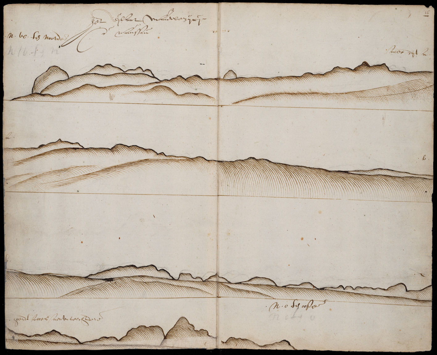 """Figure 2. Coastline of Mauritius, number 135 fols. 15v-16r. For all illustrations from the Gelderland journal: Nationaal Archief, Compagnieën op Oost-Indië, 1594-1603, nummer archiefinventaris 1.04.01, inventarisnummer 135-136, image in the public domain."""