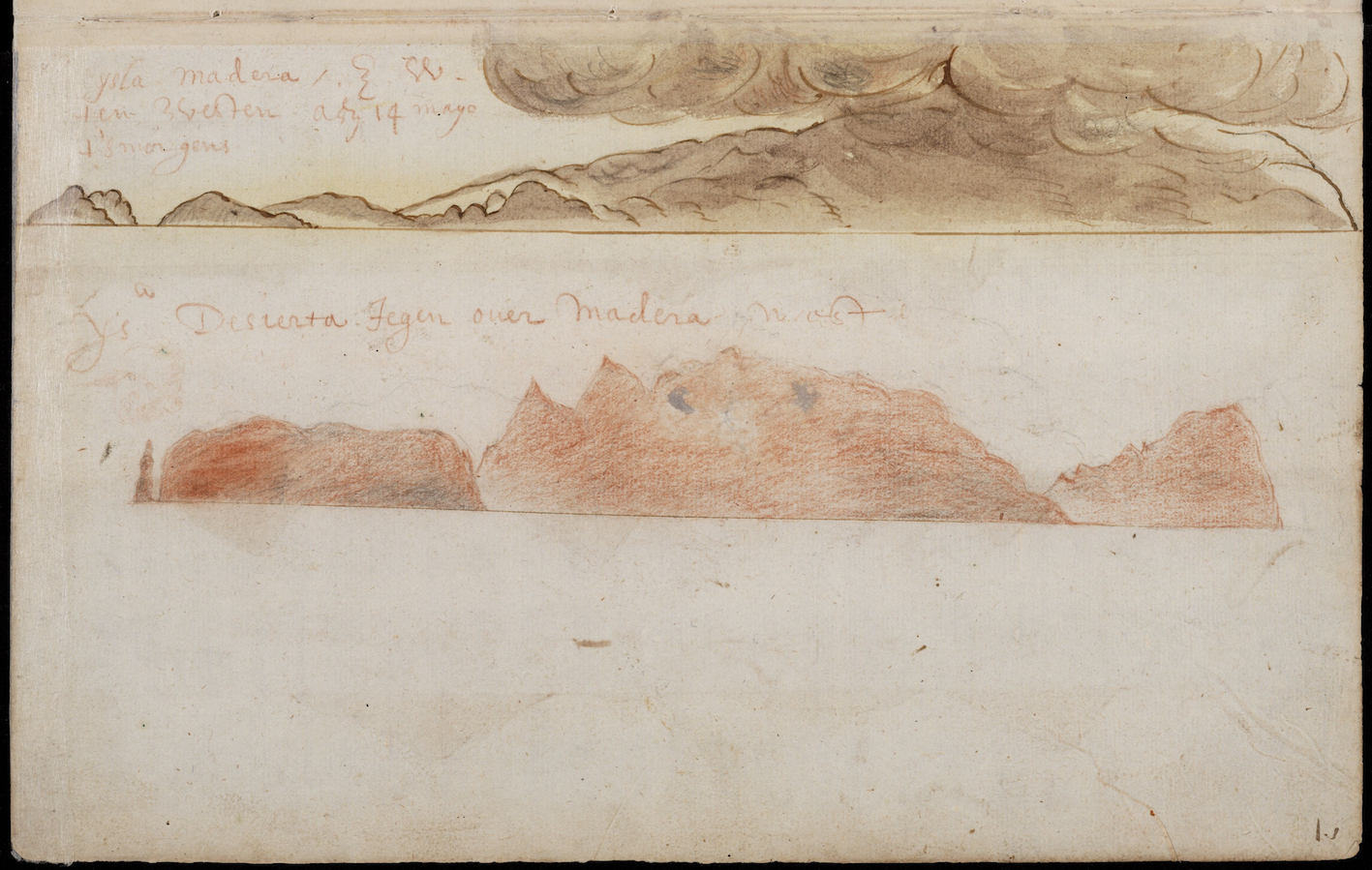 """Figure 6. Coastlines of the Madeira islands, number 135 f. 7r."""