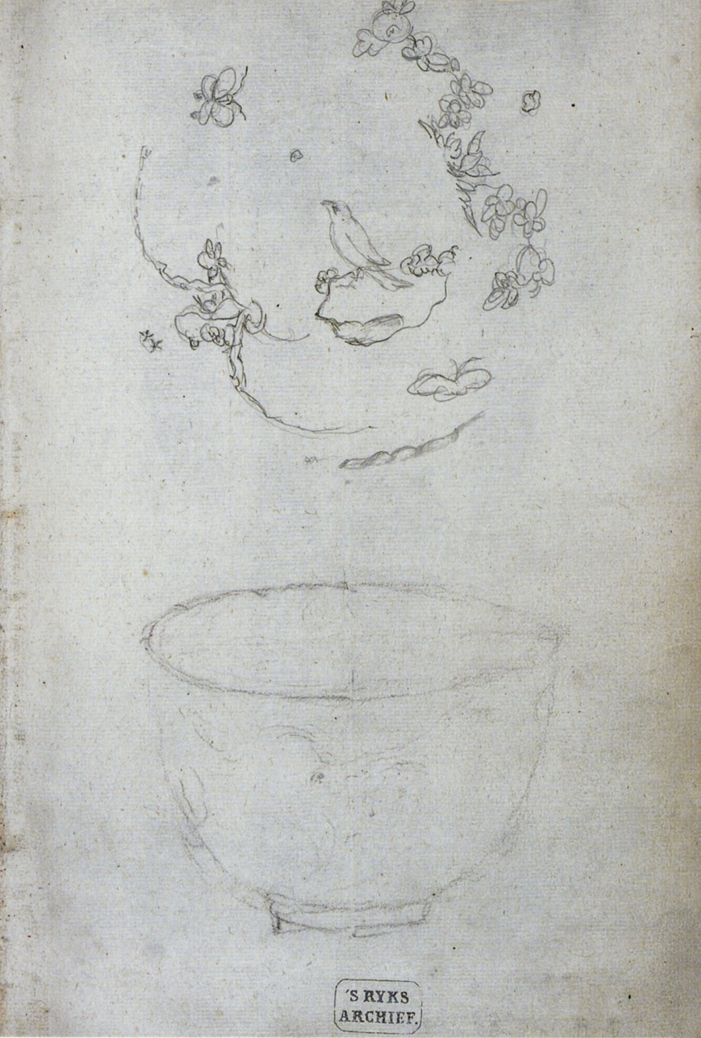 """Figure 7. Sketches of porcelain cup and decoration, number 136 f. 1r."""