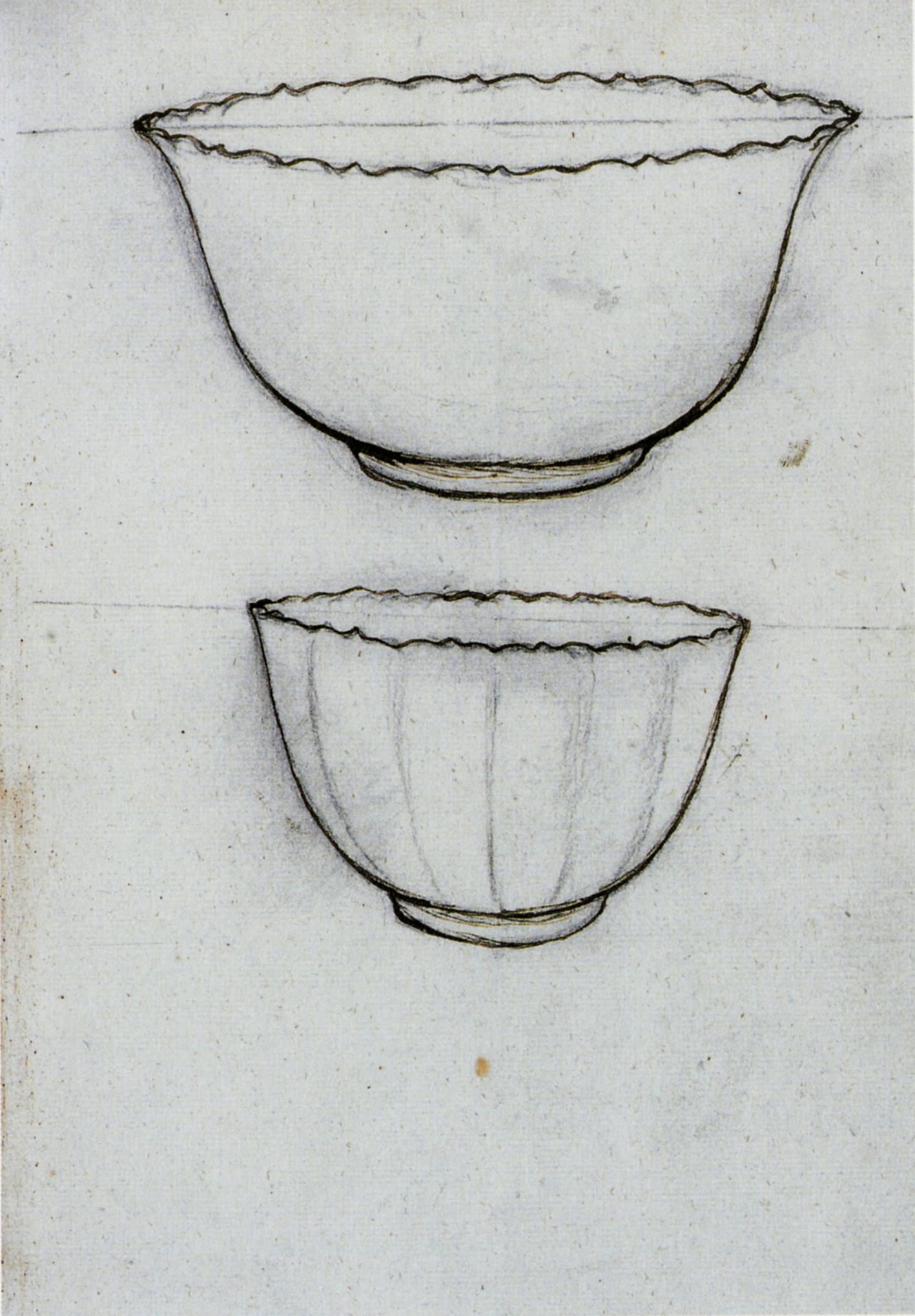 """Figure 8. Outline of two porcelain cups, number 136 f. 4r."""