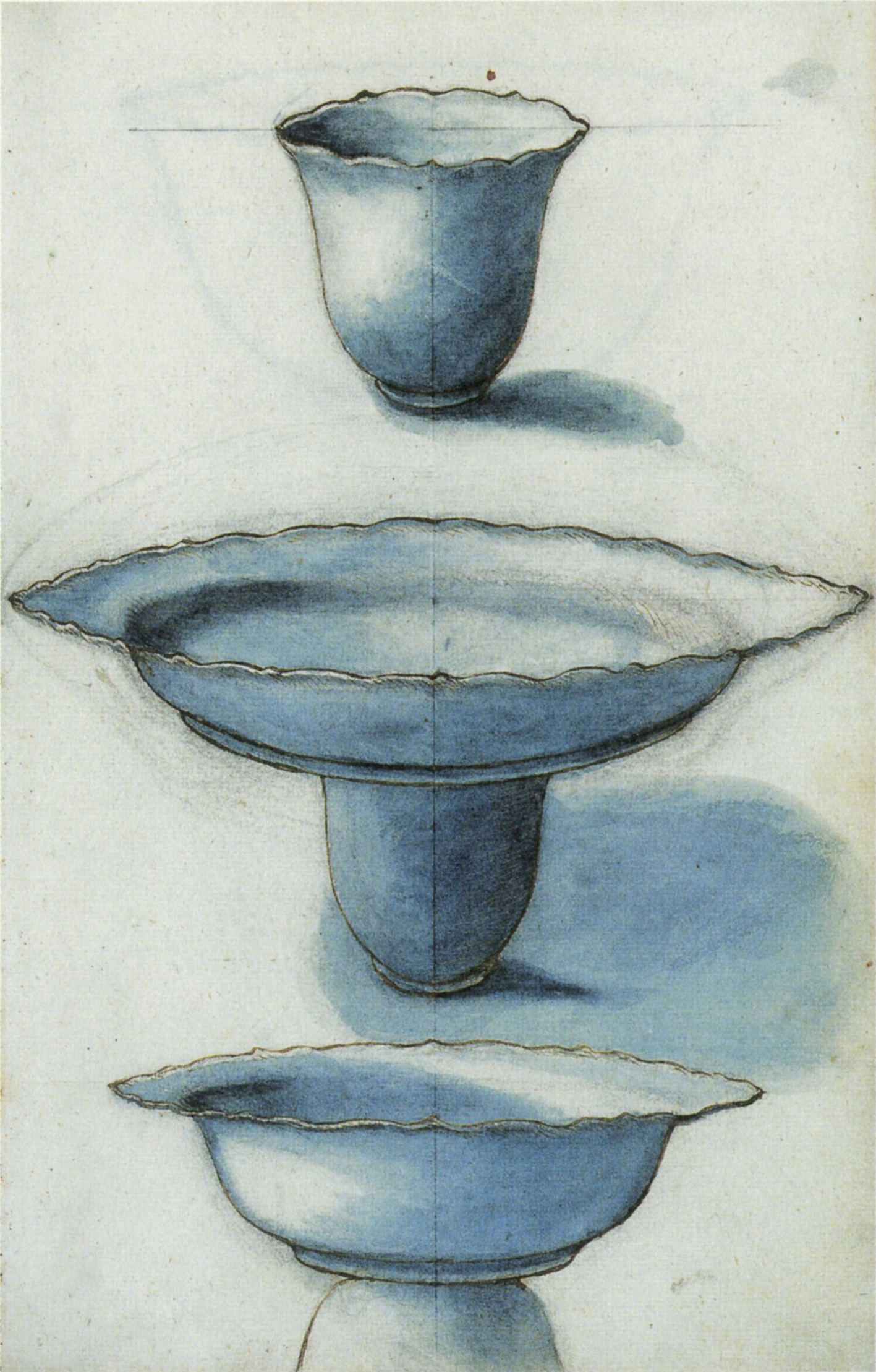 """Figure 9. Arranged porcelain objects, number 136 f. 3r."""