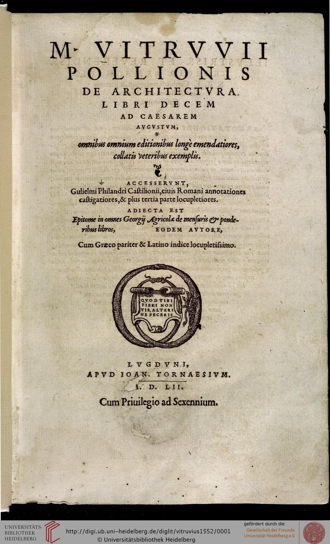 """""""Fig. 4. G. Philandrier, Annotationes castigatiores, & plus tertia parte locupletiores…, Lyon, 1552. Title page"""""""